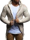 LEIF NELSON Herren Hoodie Strickjacke Jacke Kapuzenpullover Sweatjacke Zipper Sweatshirt LN20741; Größe M, Beige