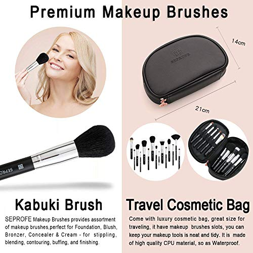 SEPROFE Makeup Brushes Cosmetics Professional 15-Piece Essential Make Up Brush Set Kits with Travel Make Up Bag Gift