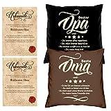 Soreso Design Geschenke Set Oma Opa 2 Motiv Kissen mit Füllung Opa Oma Weil Größe 40x40 cm dazu 2 passende Urkunden