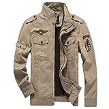 GWELL Herren Fliegerjacke Militär Piloten Jacke Bomber Blouson Jacket Kurz aus Baumwolle Große Größen Khaki 5XL
