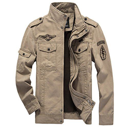GWELL Herren Jacke Fliegerjacke Übergangsjacke Bomberjacke Militär Piloten Jacket für Winter Herbst Frühling Khaki -XL (EU XL = Tag 3XL)