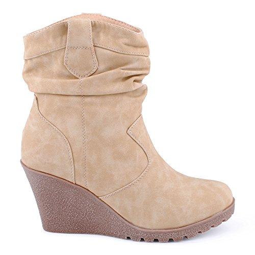 Damen Schlupf Keil-Absatz Stiefel Stiefeletten Cowboy Boots Schuhe Beige zB5bJp4