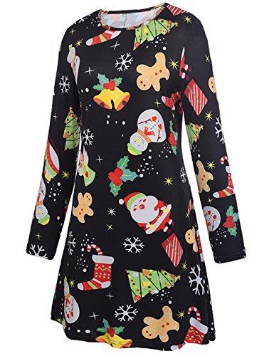 Donne ragazze Maniche Lunghe PlusSanta Natale Natale Stampa Regali Flared Swing Dress Top Nero # 7