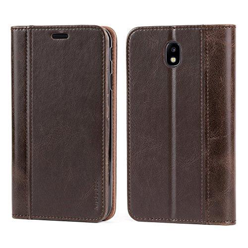 Mulbess Leder Tasche im BookStyle und 3 Kartenfach für Samsung Galaxy J7 (2017) / J7 Duos 2017 J730 Hülle Flip Case Cover,Schokolade Braun (Tasche Leder Schokolade)