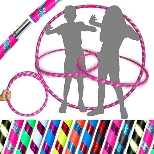 Pro KIDS HULA HOOP Reifen für Kleine Erwachsene und Kinder (10 Farben Ultra-Grip/Glitter Deco) Faltbarer TRAVEL Hula Hoop ideal für Reifentanz und Fitnesstraining! (Rosa / Silber Glitter) - Hula-hoop Glitter