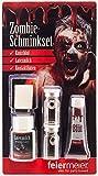 Zombie Schmink Set für Fasching & Halloween mit weißen Kontaktlinsen, Latexmilch & Kunstblut - Horror Schminke MakeUp Narbe Wunde schminken