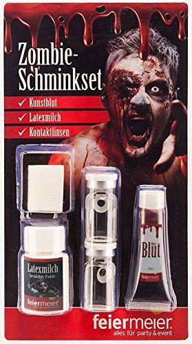 ür Fasching & Halloween mit weißen Kontaktlinsen, Latexmilch & Kunstblut - Horror Schminke MakeUp Narbe Wunde schminken (Blutige Halloween-make-up)