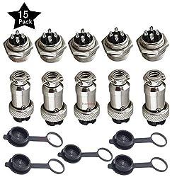 Ltsstoreuk 5 A 16 mm 4 Pin Buchse Luftfahrt-Adapter + 5 Stück 5 A 16 mm 4-poliger Stecker Luftfahrt-Stecker Adapter + 5 Stück Gummi Schutzkappe