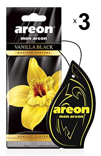 Areon Mon Profumo Auto Vaniglia Nera Deodorante Dolce Originali Da Appendere Pendente Specchietto Retrovisore Cartoni 2D Casa Set ( Vanilla Black Pack x 3 )