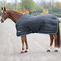 Shires Tempest 200 Stable Rug-Black/Turquoise 6'6""