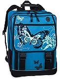 3er Set: FABRIZIO Beauty Butterfly Schulrucksack + Sporttasche + Etui Box Mäppchen TÜRKIS
