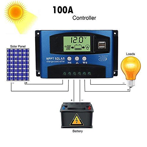 Fuibo Solar Ladegerät Controller, 40/50/60 / 100A MPPT Solar Panel Regler Laderegler 12 V / 24 V Auto Fokus (100A)
