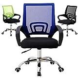 Midori © Bürostuhl Schreibtischstuhl mit Netzrücken, ergonomischer Drehstuhl mit Mesh Netz Blau Grün Schwarz