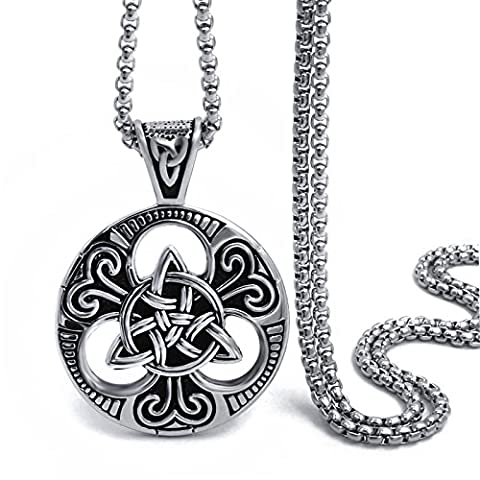 Elfasio Large Celtic knot Magic Both Sided Pendant Necklace Men's Stainless Steel Chain Jewelry