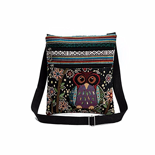 Malloom Cute Women Embroidered Owl Tote Bags Women Shoulder Bag Handbags with Strap (Pattern D)