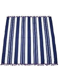 TOOGOO Microfibra Azul y Blanco a Rayas Playa Toalla Cuerpo Yoga Mat Toalla Colgando de la