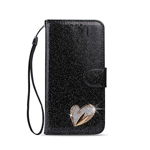 Artfeel Coque pour iPhone Se,iPhone 5/5S Etui à Rabat Portefeuille pour Femme, Bling Glitter en Cuir Brillant Diamant Coeur d'amour avec Porte-Cartes Magnetique Style Livre Housse,Noir