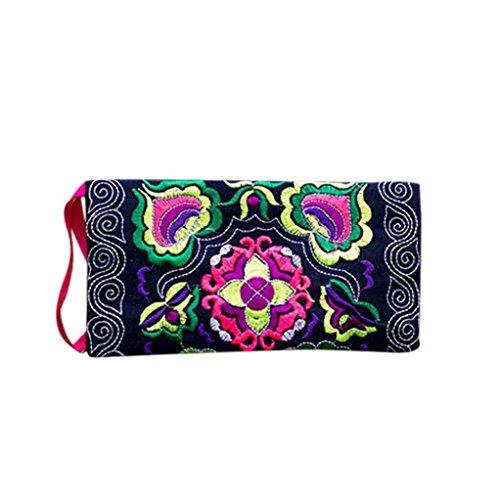 Koly Women's Ethnic Handmade Embroidered Wristlet Clutch Bag Vintage Purse Wallet (Black)