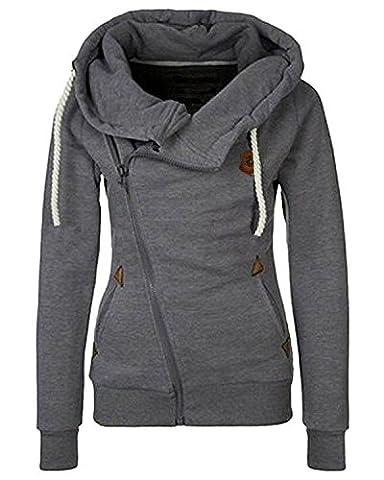 Minetom Femmes Automne Hiver Printemps Capuche Veste Mode Casual Outerwear Oblique Zipper Manteau Gris Foncé 36