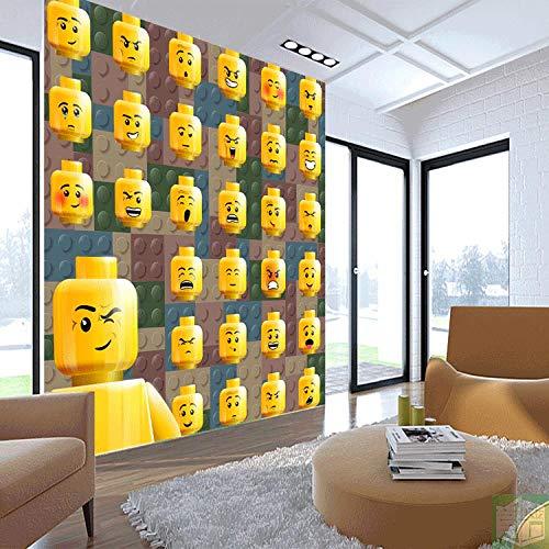 ARXBH Wandbild Selbstklebende Bausteine   Tapete Kinderzimmer Emoji Wandbild Tapete Fototapete Junge Schlafzimmer Schule Schlafsaal Wandtuch Spielzimmer Dekoration Tapete (B) 350X (H) 256 Cm (Bausteine Japanische)