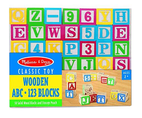 ABC Klötze Bausteine Buchstaben Zahlen, 50 Stück