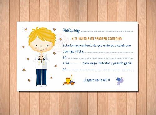Recordatorios de Comunión. Invitaciones para Primera Comunión Niño Marinero Rubio. ...