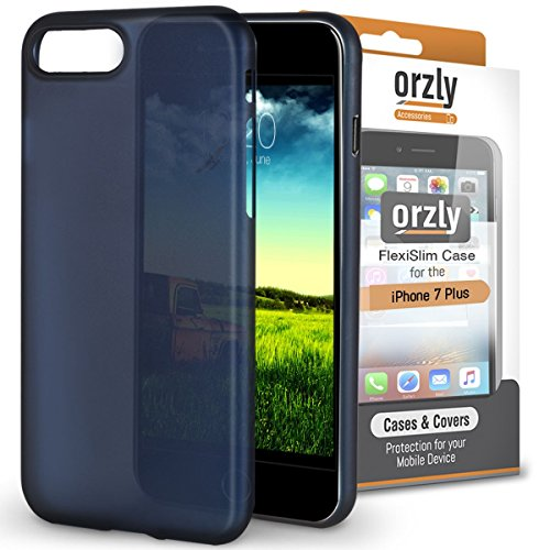 iPhone 8 Plus Case, Orzly® - Funda FlexiSlim ULTRA FINA (0,24mm) para Apple iPhone 8 Plus/iPhone 7 Plus (5,5 Pulgadas) - Funda Semi Transparente en AZUL [Compatible con carga inalámbrica]