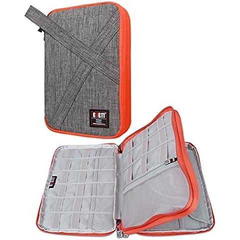 BUBM doble Capas Práctico Gadget bolsa de accesorios, electrónica Organizador/Funda Cargador de batería de viaje para iPad Mini y tablet con mango gris