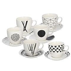 Idea Regalo - Tognana Set 6 Tazzine Caffè Graphic, Porcellana, Bianco