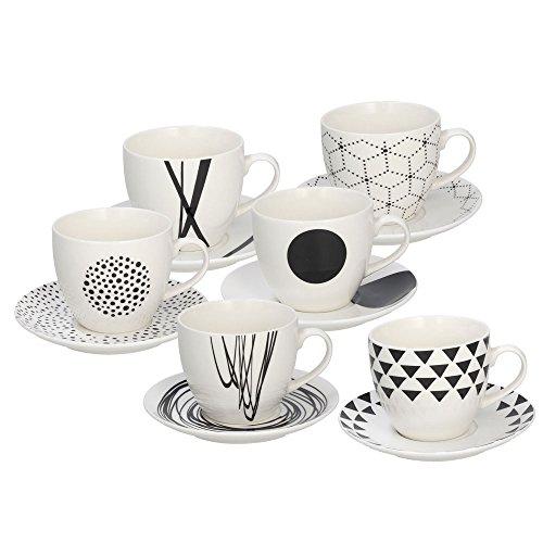 Tognana set 6 tazzine caffè graphic, porcellana, bianco