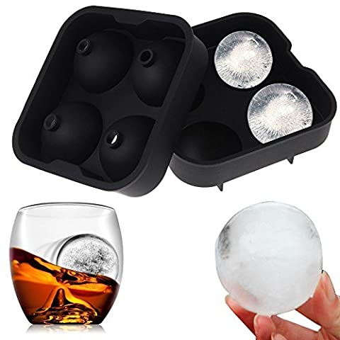 ULTRICS® Eiswürfelform Eiskugelform, Premium BPA Freie Silikon Eis Runde Hersteller-Form Eisformen Perfekt für Whisky, Highball, Cocktail oder Likör Gläser und Jede Art von Getränken