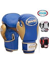 Farabi niños boxeo guantes, junior Muay Thai Guantes de entrenamiento, niños saco de boxeo Mitt (azul / oro, 6 oz)