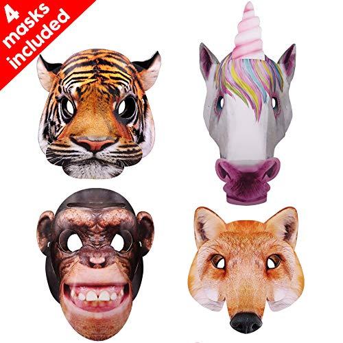 Máscaras para niños, las máscaras de animales en 3D incluyen tigre, unicornio, zorro y chimpancé para niños y adultos para fiestas, bailes de disfraces, fiestas de cumpleaños, Navidad, Halloween