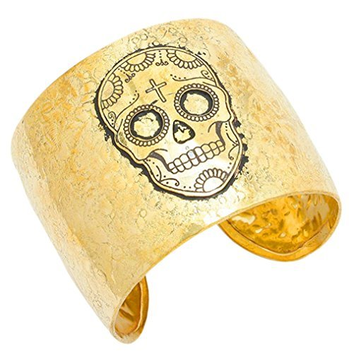 Gold ton strukturierter Metall Sugar Skull Day of the dead inspiriert Manschette Armband Halloween - Teen Halo Kostüm