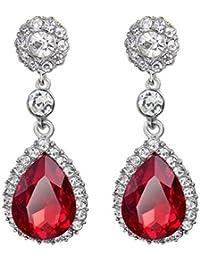 741039e9d655 Cosanter Pendientes de la Joyería de las Mujeres con Incrustaciones de  Circonio Color Rojo