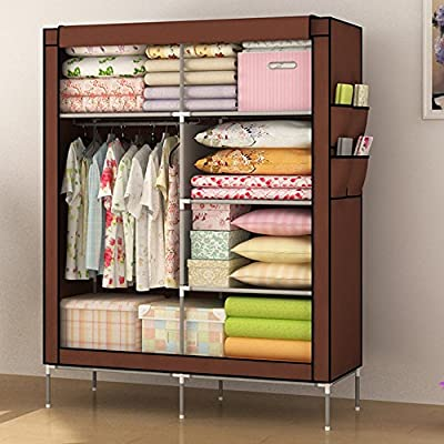 LAGUTE Clothes Wardrobe Portable Doule Storage Closet Organizer Non-woven Curtain with Shoe Rack Shelves - cheap UK light shop.