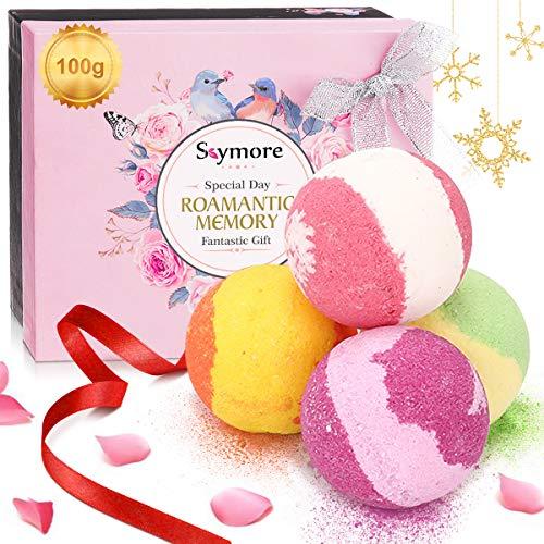 Scopri offerta per Bombe da Bagno Skymore 4x100g Confezione Regalo per San Valentino Naturali a Mano Ricche e Colorate Aromaterapia Idea regalo donna Vegan