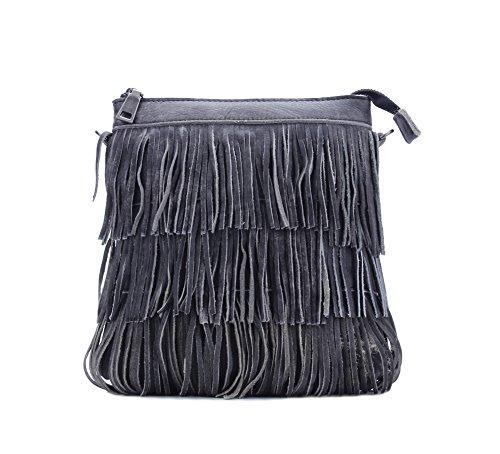 Genda 2Archer Sacchetto di Modo Nappa Borsa a Tracolla Messenger per le Donne (22cm * 5cm * 20cm) Grigio