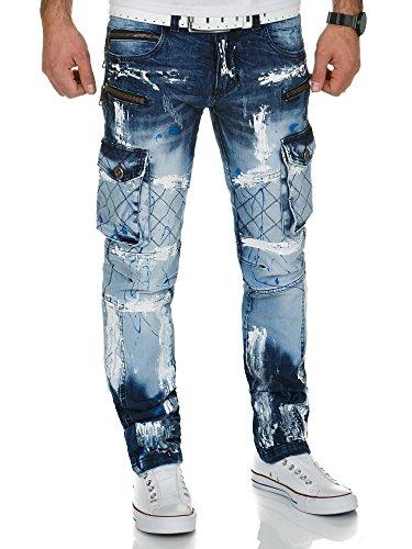 Kosmo Lupo Herren Cargo Jeans Hose KM135-1 Blau W32/L32 (Multi Jean Pocket Cargo)