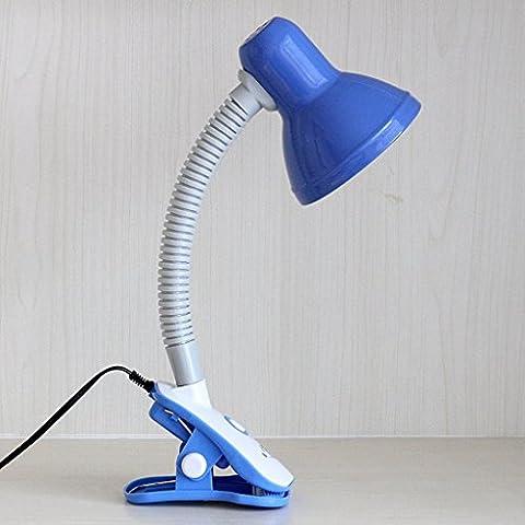 LOFAMI Lampe de bureau étudiante, protection pour les yeux, lampe de lit de bureau, lampe de lecture pour enfant, lampes de bureau à clip, bleue