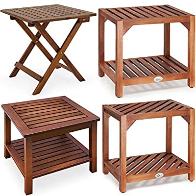 Wood Folding Side Table/Garden Table Acacia Wood Coffee Table/Bistro Table - inexpensive UK light store.