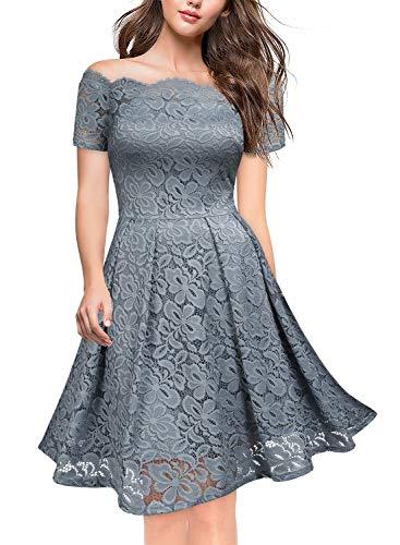 Miusol Damen Vintage Cocktailkleid 1950er 3/4 Arm Off Schulter Spitzen Abendkleid Schwingen Rockabilly Kleid Blaugrau Gr.S -