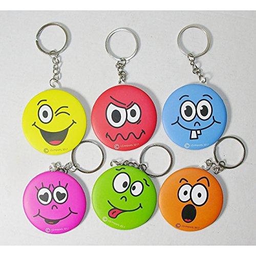 6 x porte-clés Smiley enfants Maquillage Miroir de poche Pendentif Petit cadeau
