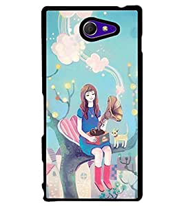 Printvisa Fairy On A Tree With A Gramophone Back Case Cover for Sony Xperia M2 Dual D2302::Sony Xperia M2