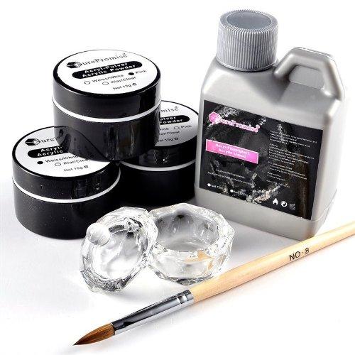 SSITG acrylique en poudre/poudre 15 g Transparent, Wei ?, rose Set + Acrylique Liquid FL ¨ ¹ ssigkeit + Pinceau Nail Art Art