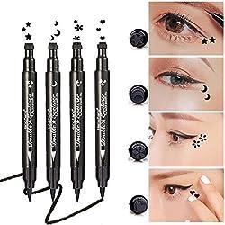 Yuccer Eyeliner Imperméable, Eyeliner Liquide Noir Waterproof, Eye Liner Stamp Longue Durée Cosmétiques de Maquillage (4 pièces)
