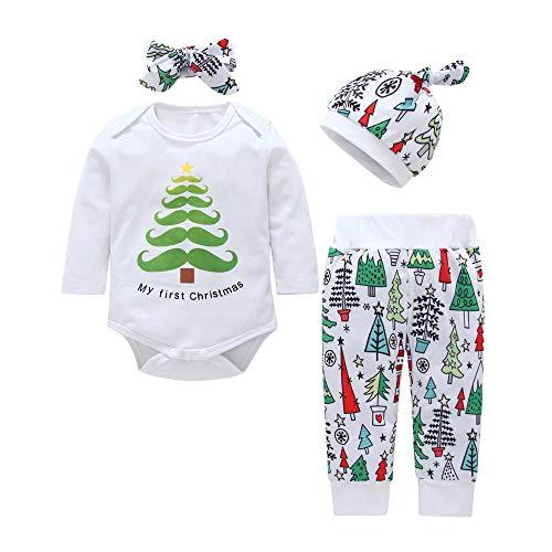 4PCS LSAltd Kleinkind Baby Weihnachtskleidungs Satz, Mein Erstes Weihnachten, Neugeborene Jungen Mädchen Druck Lange Hülsen Spielanzug + Hosen + Hut + Stirnband-Weihnachtsausstattungen stellten