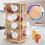 Jago Gewürzregal | Bambus, inkl. 16 Gewürzgläser, Glas-Dosen, Glasbehälter, drehbar, stehend, Gläser spülmaschinengeeignet | Gewürzständer, Gewürzkarussell