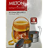 Milton Lunch Box for Office Econa Delux 3 Container Hot (Yellow)