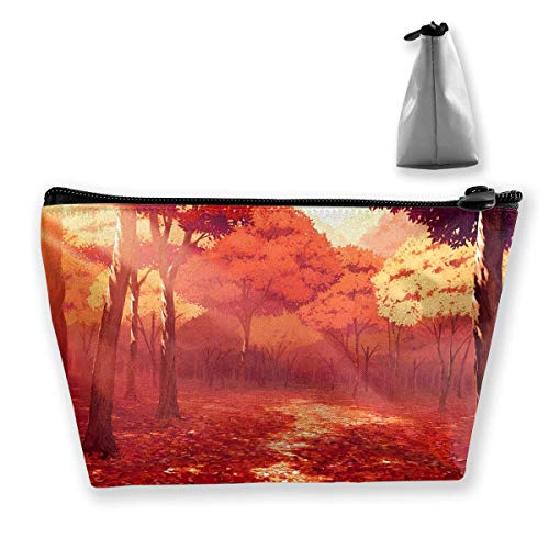 Fall Leaves Sunlight Portable Cosmetic Bag Mobile Trapezoidal Storage Bag Travel Bags with Zipper ()